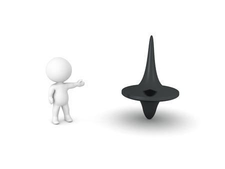 3D Character presenting spinning top. Isolated on white.  Stock Photo