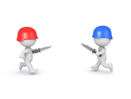 3D illustration of red and blue soldiers charging at each other. Image depicting warfare between opposing sides.