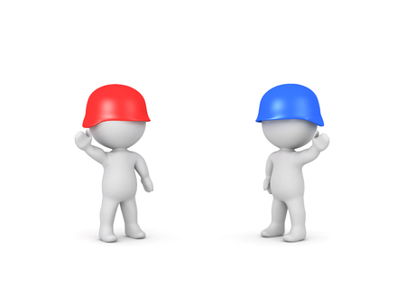 3D illustration of red and blue soldiers. Isolated on white.