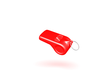 3D illustration of a red whistle. Isolated on white.