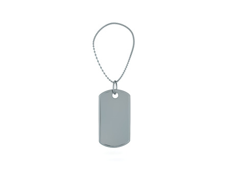 3D illustration of a army dog tag. Isolated on white.