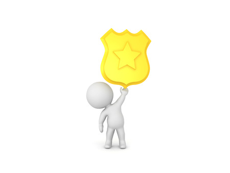 3D Character holding up police badge. Isolated on white.