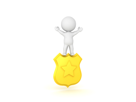 3D Character standing on top of police badge. He has his arms raised.