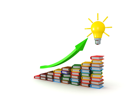 3D illustration of stair of books with green upward arrow and bright yellow lightbulb at the end of the green arrow.