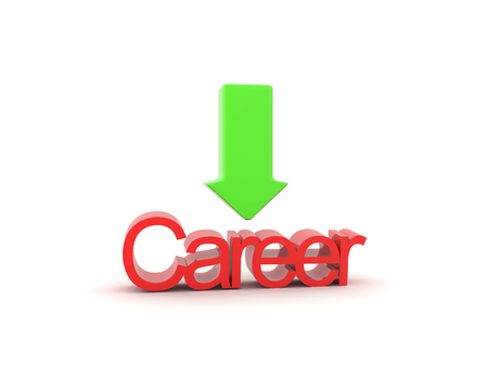 3D illustration of green arrow pointing at Career sign. Isolated on white.