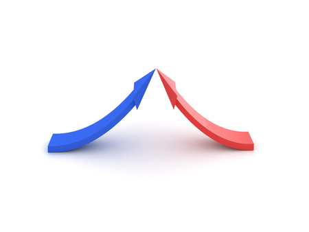 3D illustration of red and blue arrows going into each other. Isolated on white. Archivio Fotografico - 101124732