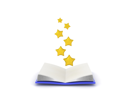 3D illustration of shiny stars coming out of open book. Isolated on white.  Stock fotó
