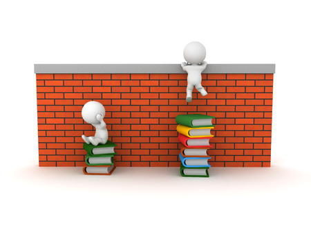 3D illustration showing how reading helps people overcome problems.Isolated on white.