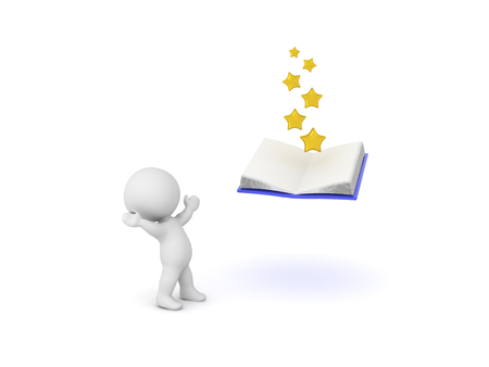 3D Character looking up in awe at open book with stars coming out of it Isolated on white.  写真素材