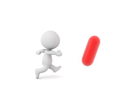 3D Character chasing red pill. Isolated on white.  Stock Photo