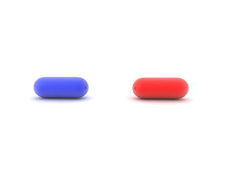 3D illustration of blue and red pill. Isolated on white.