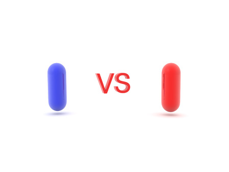 3D illustration of red versus blue pill. Isolated on white.
