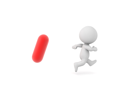 3D Character running away from red pill. Isolated on white.  Stock Photo