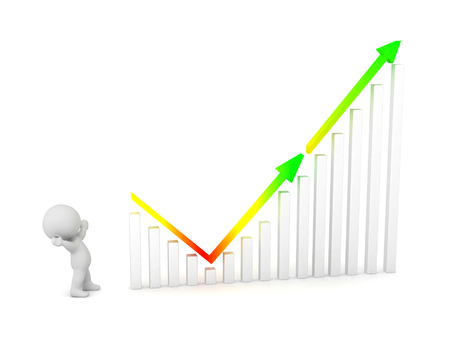 3D character with a chart showing decline then growth. Isolated on white background.