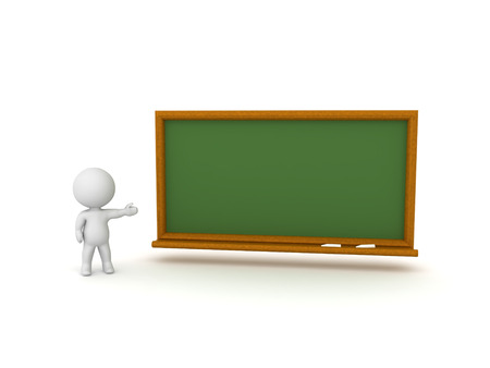 3D Character showing green school chalkboard. Isolated on white. 版權商用圖片