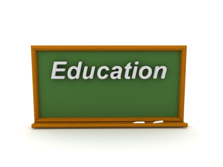 3D illustration of green chalkboard with education text. Isolated on white. 版權商用圖片