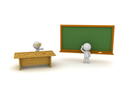 3D illustration of teacher and student in classroom. 3D rendering isolated on white.