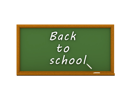 3D illustration of green chalkboard and big back to school text. Isolated on white.