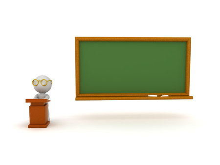 3D Character sitting at lectern next to chalkboard. Isolated on white. 版權商用圖片