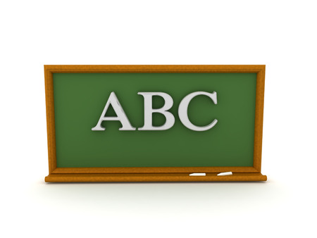 3D illustration of ABC text on green chalkboard. Isolated on white. 版權商用圖片