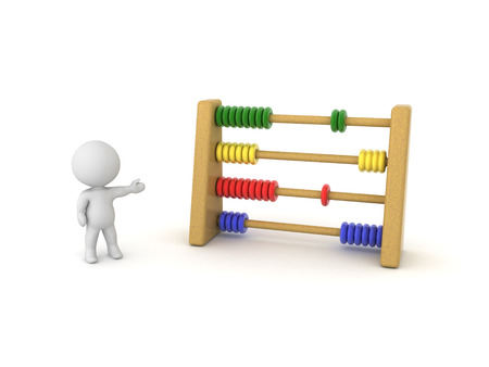 3D Character showing colorful Abacus. 3D rendering isolated on white. Stock Photo