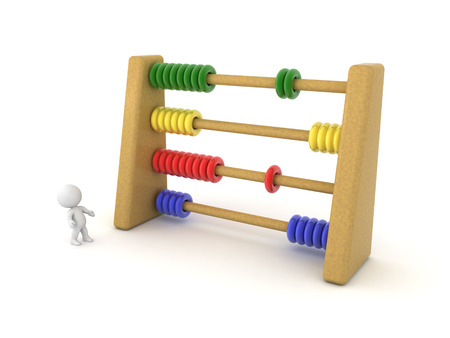 3D Character looking up at large Abacus. 3D rendering isolated on white.
