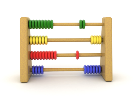 3D illustration of colorful Abacus. 3D rendering isolated on white.