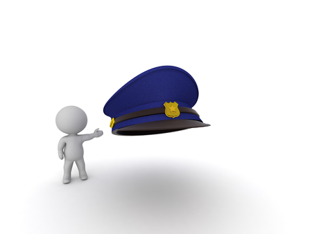 3D Character highlighting a police man hat. A 3D rendering of a police man hat.  Stock fotó