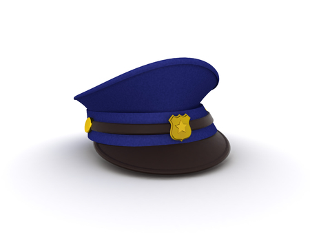 3D rendering of a policeman hat. Isolated on white.
