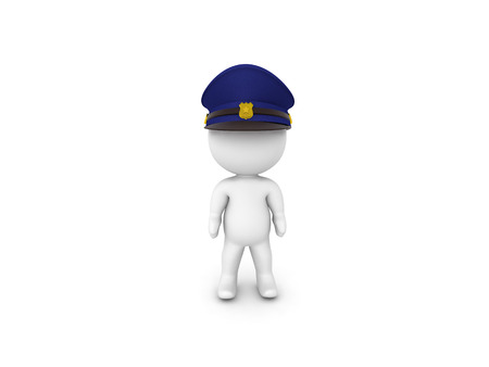 3D Policeman character. 3D rendering isolated on white.
