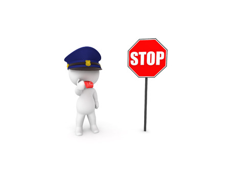 3D Traffic warden next to stop sign. 3D rendering isolated on white. Stock Photo - 116679955