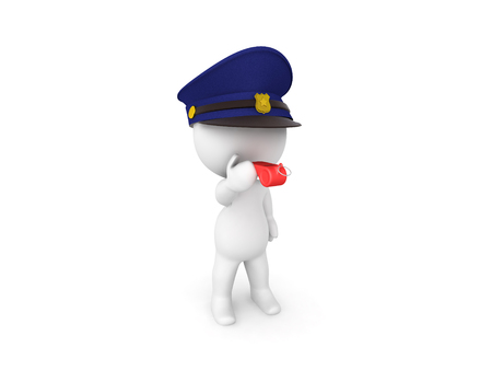 3D Traffic warden blowing red whistle. 3D rendering isolated on white.