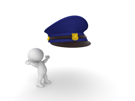 3D Character looking excited at policeman hat. Isolated on white.