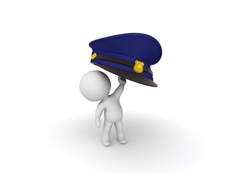 3D Character raising up a police man hat. Isolated on white.