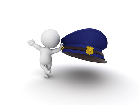 3D Character leaning on police man hat. 3D Rendering isolated on white.