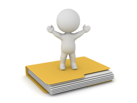 3D character standing on a large file folder. Isolated on white background.