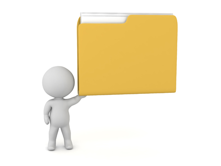 3D character holding up a large yellow file folder. Isolated on white background.