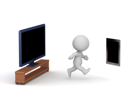 3D character running away from the TV and going to a tablet. Isolated on white background.