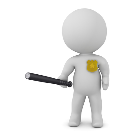 3D character with police badge and nightstick. Isolated on white background.