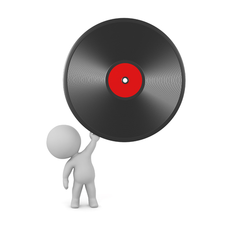 3D character holding up a large vinyl disk. Isolated on white background.