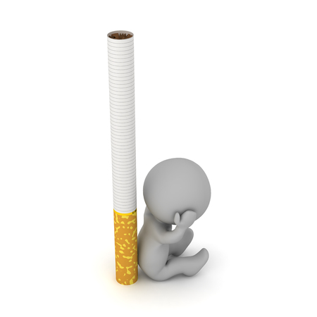 Stressed 3D character is down, sitting next to a large cigarette. Isolated on white background. Stock Photo