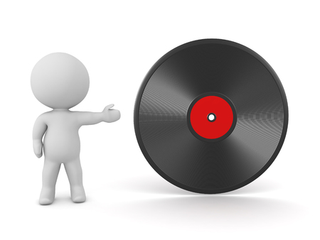 3D character showing a large vinyl disk. Isolated on white background. Stock Photo