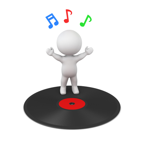 3D character with a large vynil disk and colorful music notes. Isolated on white background.