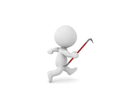 3D Character running with crowbar in hand. 3D Rendering isolated on white.