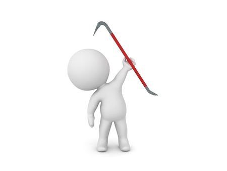 3D Character holding up a red crowbar. 3D rendering isolated on white.