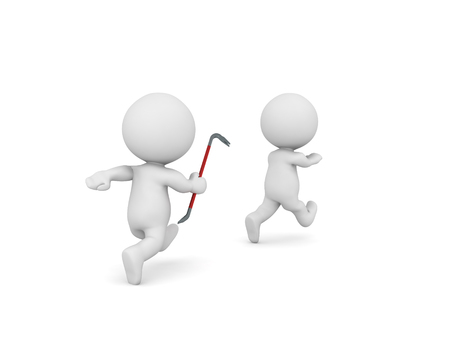 3D Character wielding crowbar chases after another. 3D Rendering isolated on white.