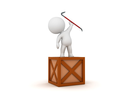 3D Character standing on crate with a crowbar raised. 3D Rendering isolated on white.