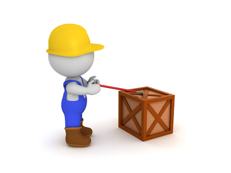 3D Worker opening with a crowbar a crate. 3D Rendering isolated on white. Stock Photo