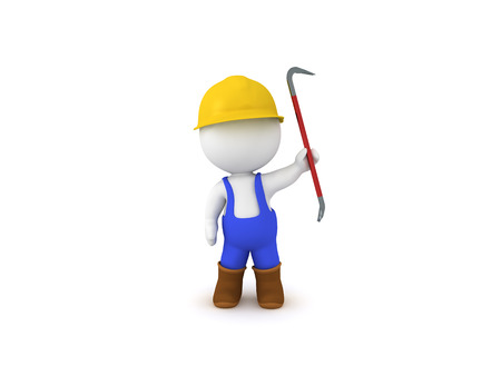 3D Worker with blue overalls holding crowbar. 3D Rendering isolated on white. Stock Photo