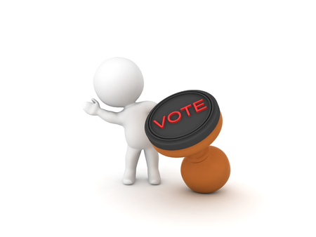 3D Character waving from behind a voting stamp. 3D rendering isolated on white. Stock Photo